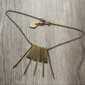Brass Statement Necklace Gold Spike Bib Collar